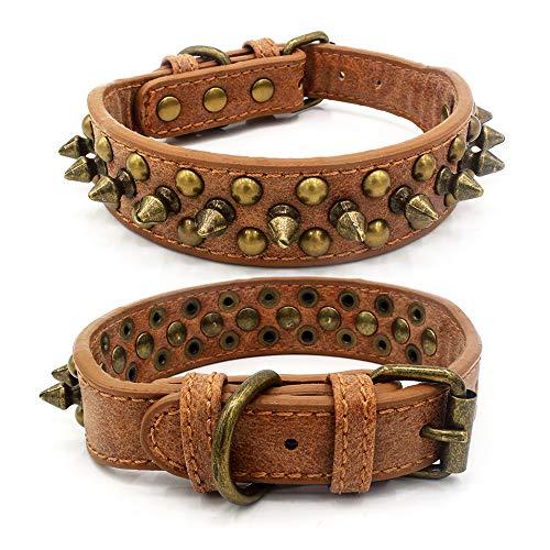 Collar de piel para perro, ajustable y duradero, para mascotas, antimordeduras, remaches punk, para perros pequeños y cachorros (XS: 32 x 2,5 cm, marrón)