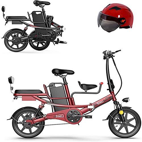 Bici electrica, 14' bicicleta plegable eléctrica for Adultos con 350w 48v batería de litio extraíble bicicleta eléctrica con asiento de bebé de absorción de choque de seis veces y frenos mecánicos de