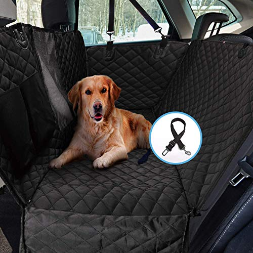 Ohwens Seat Covers Pet Dog Car Seat Cover Luxury Quilted Waterproof Travel Mat Car Hammock Cushion Protector with Pockets