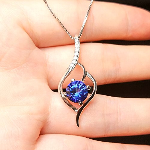 SheColour Natural 4.25 Carats Tanzanite Blue Topaz Gemstone Pendant Sterling Silver Necklace
