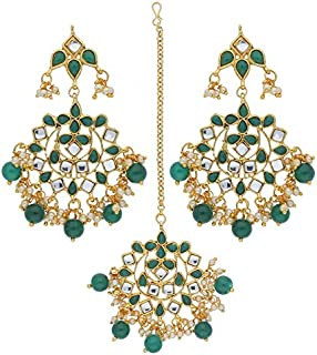 2d3544563 I Jewels Traditional Green Gold-Plated Pearl and Kundan Maang Tikka with  Earring Set for