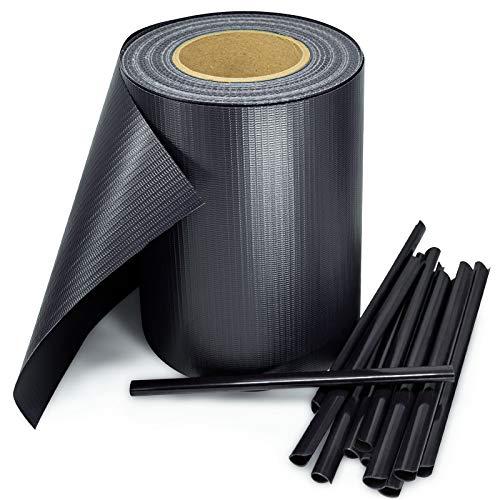 Stel4Style PVC Sichtschutz Streifen Privatsphäre Doppelstabmatten Zaun Folie Anthrazit Grün, Farbe:Anthrazit, Länge:35m