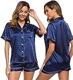 SWOMOG Womens Silk Satin Pajamas Set Two-Piece Pj Sets Sleepwear Loungewear Button-Down Pj Sets Navy Blue
