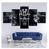 Cráneo oscuro con ojos azules pintura lienzo 5 piezas arte de pared pintura fondos de pantalla póster impresión para habitación decoración del hogar-40X60 40X80 40X100Cm