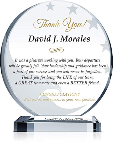 Personalized Farewell or Retirement Gift Plaque for Departing Colleague, Coworker or Manager, Unique Going Away Gift for Employee or Boss (M - 6.5
