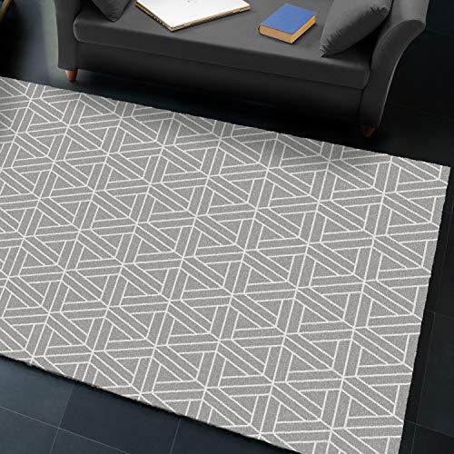 Universal Alfombra Geométrica En Gris y Blanco   Denmark Geométrica Plata 160 x 230 cm