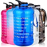 WGCC Large 1 Gallon Motivational Water Bottle, 128oz Clear Water Jug Hydration with Time Marker and Straw, BPA Free Reusable Plastic Leakproof Lid for Camping Sports Workouts and Outdoor… (1 Gallon, Blue)