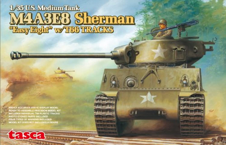 1 35 U.S. Medium Tank M4A3E8 SHERMAN w T66 TRACKS Tasca 35020