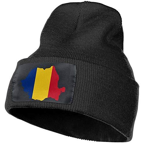 DOGPETROOM Sombrero de la bandera rumana Gorro de invierno Slouch Sombrero de punto para hombres y mujeres Caliente Calavera Gorra Negro
