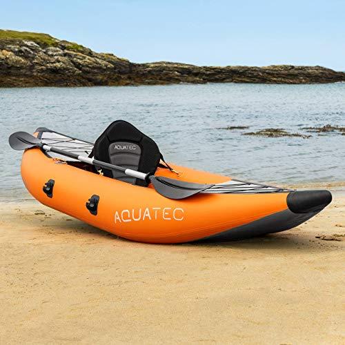 AQUATEC Kayak | Inflatable Adventure & Fishing Kayak | Inflatable Boat Available as Single Kayak or Double Kayak | Bag & Kayak Paddles Included (Single, Hudson (Intermediate))