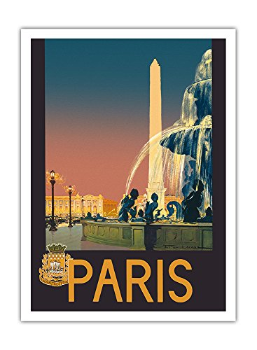 Pacifica Island Art - Paris - Brunnen am Place de la Concorde - Eisenbahn Paris-Lyon-Mittelmeer (PLM) - Retro Eisenbahn Plakat von Julien Lacaze c.1930 - Giclée Kunstdruck 30.5 x 41 cm