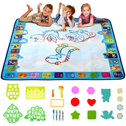 Lekebaby Wasser Doodle Matte 100 x 100 cm Große Magic Doodle Malmatte Pädagogisches Lerngeschenk für Jungen Mädchen 2-8 Jahre alt (25 Stück Set)