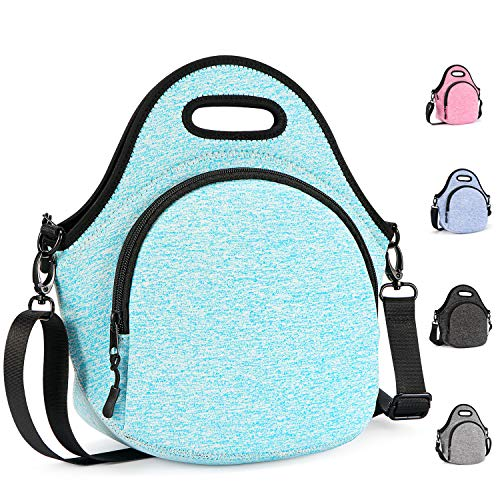 Gowraps Lunch Bags For Women Men Kids Neoprene Lunch Tote Bags With Adjustable Detachable Shoulder Straps Reusable Soft Insulated Lunch Bags For School/Picnic/Work(Turquoise)