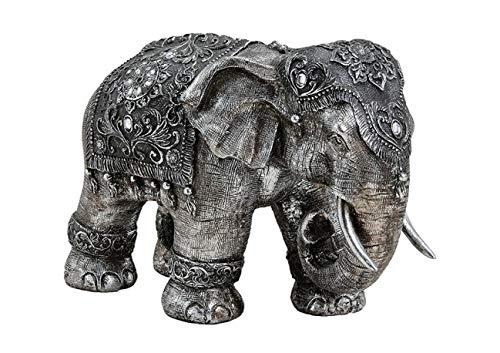 DS Deko Figur Elefant XXL - 38 x 27 x 18 cm - Indischer Elefant - Gartenfigur - Wohnzimmerfigur aus robustem Polycarbonat