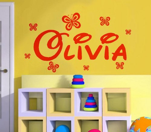 Windsor Designers Mur Sticker- Nom personnalisé avec Papillon (n'importe Quel nom, Texte) Filles garçons Disney Style DB1, Rouge, Medium -Size 90cm x 30cm