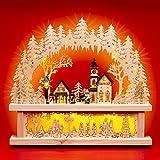 SIKORA LB01 beleuchteter LED Holz Schwibbogen WINTERDORF mit Schwibbogen Erhöhung inklusive Trafo