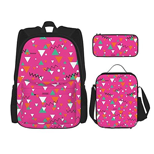 Mochila escolar para niños de los años 80 o 90 con diseño de azulejos rosados, bolsa de almuerzo con estuche para lápices, juego de bolsa de escuela 3 en 1
