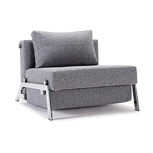 Innovation Cubed 90 Sessel/Schlafsessel, grau Gestell Chrom Bezug Dess. 565 Granit Twist