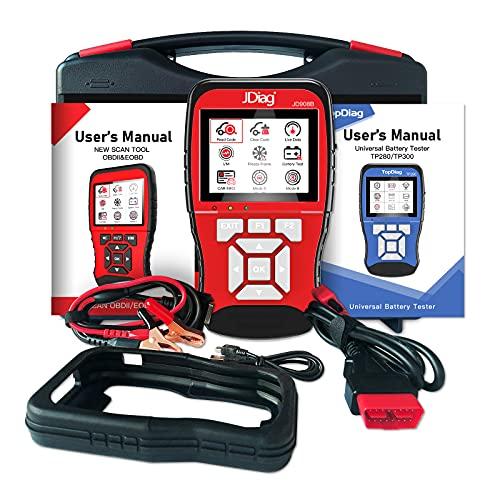 JDIAG 2-in-1-Codeleser 12 Batterietester Autofehlercodeleser OBD-II-Motorsystem-Diagnosetools Ausschalten Motorlicht überprüfen Vin-Code, O2-Sensor und Evap-Test Modus 6 Modus 8… (2in1 908B)