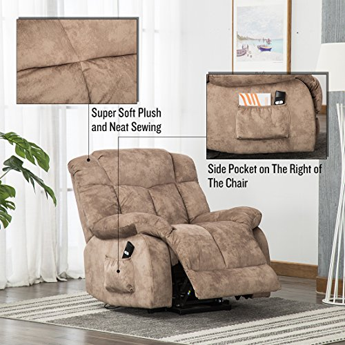 CANMOV Power Lift Recliner Chair for Elderly- Heavy Duty and Safety Motion Reclining Mechanism-Antiskid Fabric Sofa Living Room Chair with Overstuffed Design (Camel)
