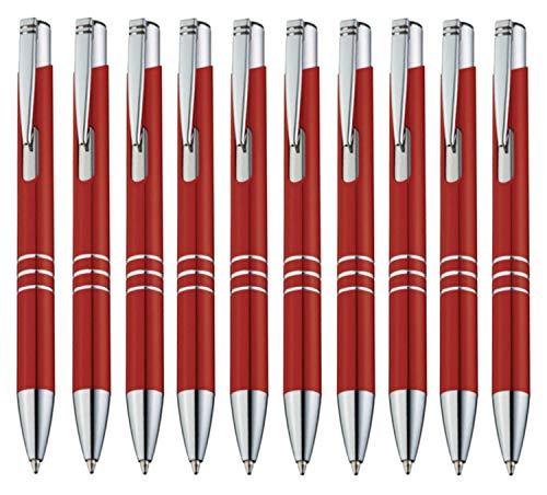 StillRich Industries 10 Stück rote Metall Kugelschreiber Set Premium Kulli, ballpoint pen, hochwertige, ergonomische und blauschreibende Kugelschreiber (rot)