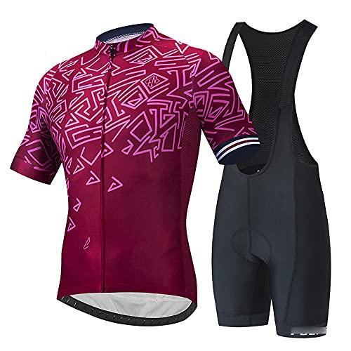 Traje de Ciclismo Hombre, Conjunto de Camiseta de Manga Corta MTB Transpirable para Verano y Otoño, Jersey + Pantalones Cortos y Babero Acolchado para Ciclismo Deport(Size:Grande,Color:Rojo Oscuro)