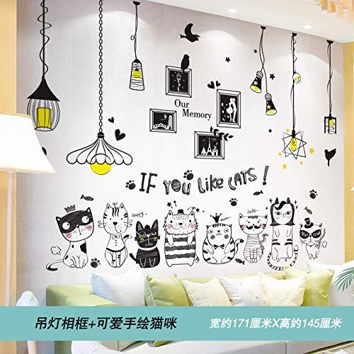 Zimmer warme Tapete selbstklebende Miete Haus Dekoration Hintergrund Wandaufkleber-Anhänger Fotorahmen + niedlichen handbemalten cat_Big
