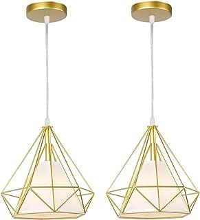 STOEX Lot de 2 vintage suspension luminaire industrielle cage forme diamant 25cm E27 rétro lustre abat jours corde ajustab...