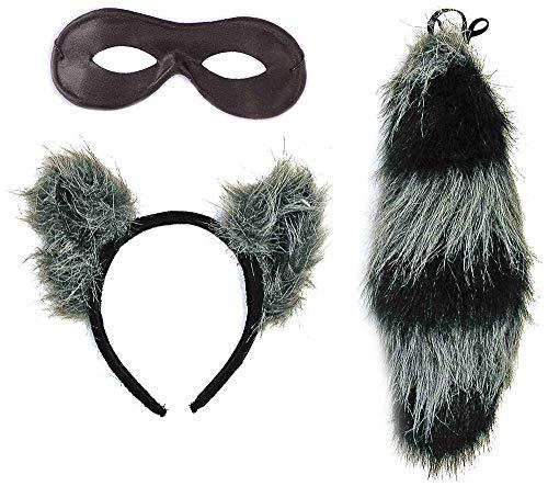 shoperama Waschbär Set Kopfschmuck Schwanz und Maske Kostüm-Zubehör Karneval Haarreif Ohren