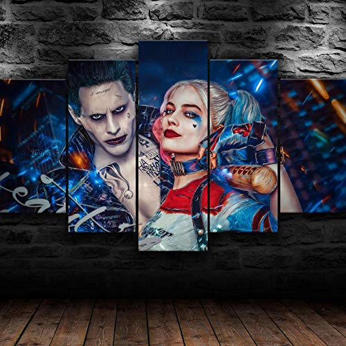 Canvas Prints 5 Pieces Modern Artwork,5 Piece Modern Stretched and Framed,5 Piece Picture,5 Piece Painting,5 Pieces of Wall Decoration,Home Decor,Gift 150X80Cm Harley Quinn Joke Dc