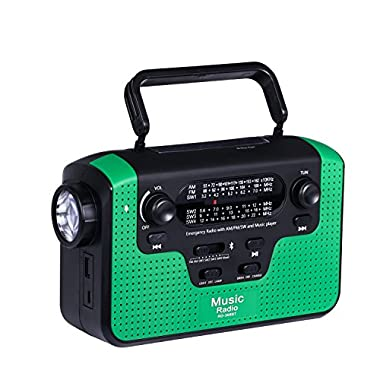 Solar Hand Crank Emergency AM/FM/SW/WB Radio, Bluetooth TF Card Speakers with Lights, LED Flashlight and Reading Camping Lamp, Battery Radio Portable and 2300mAh Power Bank Cell Phone Charger (Green)