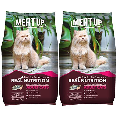 Meat Up Adult(+1 year) Dry Cat Food, Ocean Fish, 3kg ( BUY 1 GET 1 FREE)