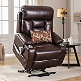 J&L Furniture Power Lift Chair with Three OKIN Motor Electric Lift Recliner Chair for Elderly with Lumbar Support Lays Flat Home Sofa Chairs withCup Holder and Side Pocket Breathable Leather(Brown)