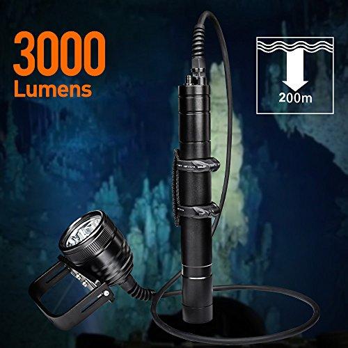 Odepro WD70 Taucherleuchten 3000 Lumen Taucher Taschenlampe
