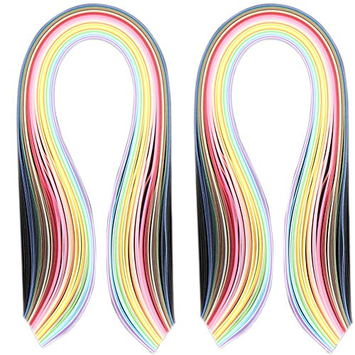 Potosala 2 paquetes de tiras de papel para quilling de 3/5 mm de ancho, 540 mm de largo, 180 tiras de papel, suministros para álbumes de recortes, tiras de...