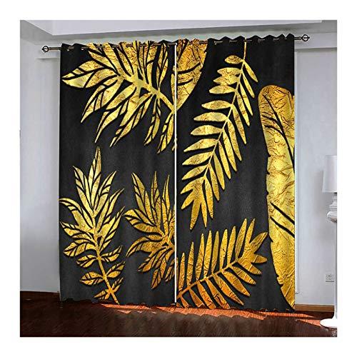 Daesar Vorhang Lang Ösen Blickdicht Schwarz Gold, Blätter Gardinen Vorhänge mit Muster Wohnzimmer Modern 214x244CM Schlafzimmer Verdunklungs Vorhänge Kinderzimmer 2 Stück