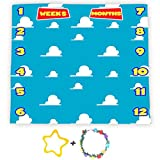 F-FUN SOUL Blue Sky White Clouds Backdrop for Baby Boys Girls, Baby Milestone Blanket 40x40in Soft Flannel, Baby Shower Growth Tracker Props, Newborns Mom Toy Gifts with Bonus Marker LHFS981