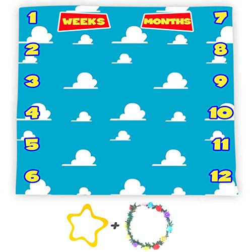 F-FUN SOUL Blue Sky White Clouds Backdrop for Baby Boys Girls, Baby Milestone Blanket 40x40in Soft Cotton, Baby Shower Growth Tracker Props, Newborns Mom Toy Gifts with Bonus Marker LHFS981