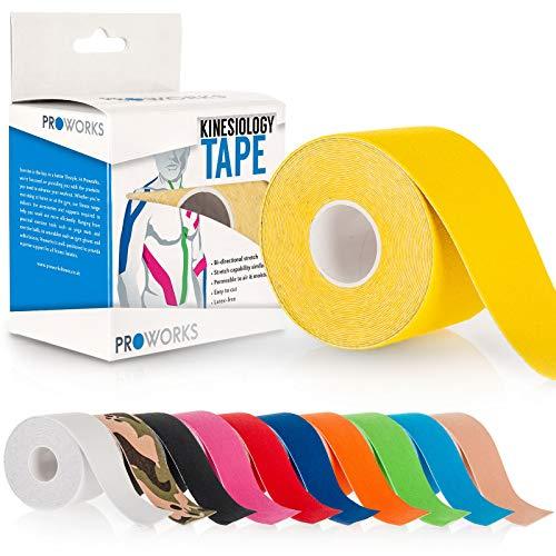 Proworks Kinesiologie Tape [5cm x 5m Rollenlänge] Tape für Muskeln und Gelenke [Wasserfest] für Training, Physiotherapie und Schmerztherapie Gelb