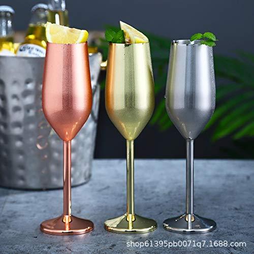 3 Piezas de Acero Inoxidable Copa de champán Copa de Vino Tinto Copa de cóctel Copa de Vino de Metal Creativa Bar Restaurante Copa Oro Rosa
