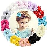 24 Pcs Bébé Filles Pinces À Cheveux En Mousseline De Soie Fleurs Barrettes De Cheveux pour Les Adolescents Enfants