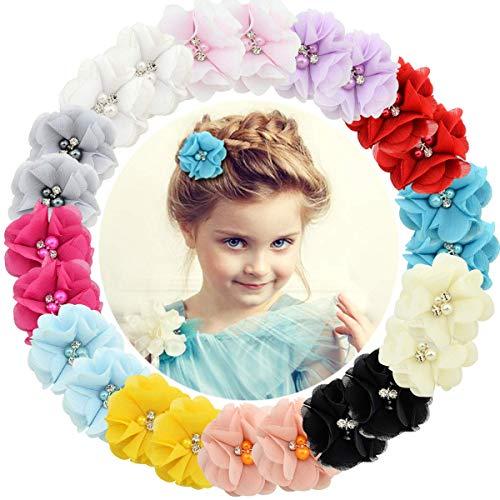24 Stück Baby Mädchen Haarspangen Chiffon Blumen Haarspangen für Jugendliche Kinder Kleinkind
