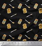 Soimoi Negro lona pesada Tela cuchillo, tarro de mantequilla de maní y pan de molde comida tela artesanal impresa por metro 58 Pulgadas de ancho