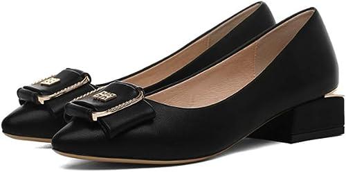 AJUNR Femmes Loisirs 3.8Cm Au Milieu du Printemps De Style Les Chaussures De Femme Lieu De Travail De 100 Ensembles Chaussures en Cuir Boucles