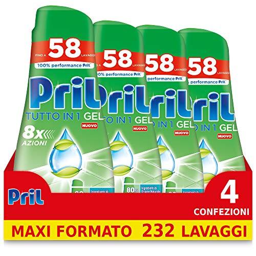Pril Gel Green Tutto in 1, Nuovo Detersivo Lavastoviglie Gel, 4 Confezioni da 58 Lavaggi (232 lavaggi)