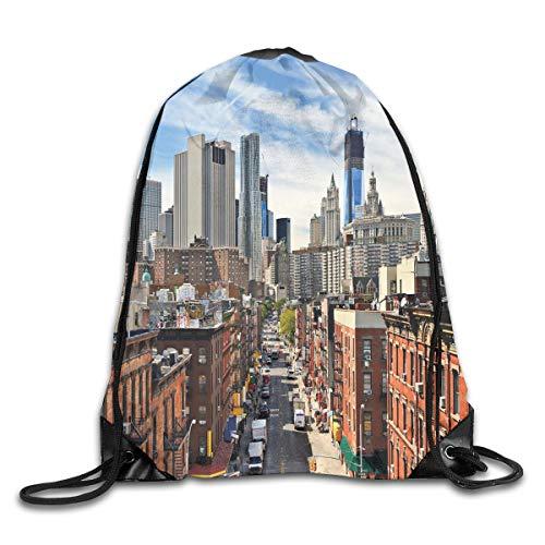YOWAKi Printed Drawstring Backpacks Bags,Lower Manhattan Cityscape Famous Travel Destination NYC Avenue Historical,Adjustable String Closure