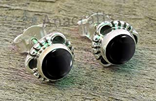 Black Stone Earrings Handmade By Pellada 24K Gold Over 925 Sterling Silver Onyx Stone Silver Earrings Ancient Minimalist Handcrafted