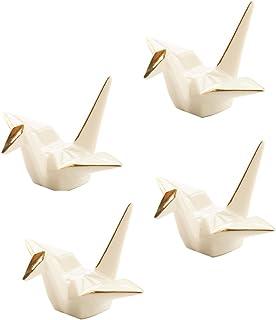 Cinf Japanese Cranes Ceramics Chopstick Rest Spoon Fork Knife Holder with Gold Edge Set of 4(White),Decorative Porcelain C...