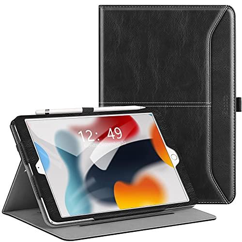 Ztotops für iPad 9/8/7 Generation Hülle, Premium Leder Geschäftshülle mit Ständer,Kartensteckplatz, Auto Schlaf/Aufwach Funktion für iPad 10,2 Zoll 2021/2020/2019, Schwarz 815150031