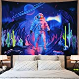 Astronaut Tapestry Trippy Planet Tapestry Psychedelic Galaxy Space Tapestry Hippie Cactus Spaceman Tapestry Fantasy Starry Aurora Landscape Tapestry Wall Hanging for Bedroom